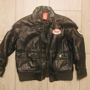 Brown faux leather bomber jacket 2T